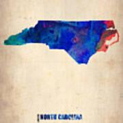 North Carolina Watercolor Map Art Print