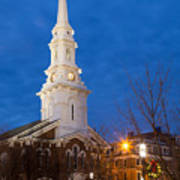 North Church At Twilight, Portsmouth, New Hampshire Art Print