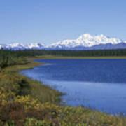 North Face Of Mount Mckinley, Lake Art Print