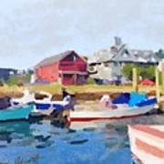North Shore Art Association At Pirates Lane On Reed's Wharf From Beacon Marine Basin Art Print