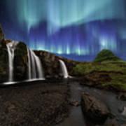 Northern Lights At Kirkjufellsfoss Waterfalls Iceland Art Print