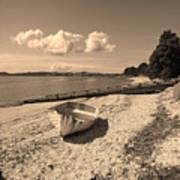 Nostalgia Boat On Beach Art Print