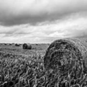 Nostalgia - Hay Bales In Field In Black And White Art Print