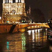 Notre Dame Bridge Paris France Art Print