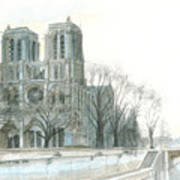 Notre Dame Cathedral In March Art Print