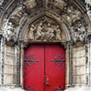 Notre Dame Cathedral side door architecture in Paris Art Print