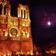 Notre Dame In The Autumn Moonlight Art Print
