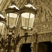 Notre Dame Street Lights Paris France Sepia Art Print