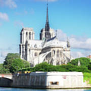 Notre Dame Over Water Art Print