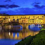 Notte A Ponte Vecchio Art Print