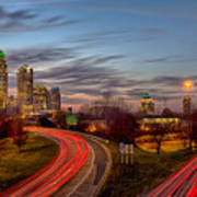 November Sun Setting Over Charlotte North Carolina Skyline Art Print