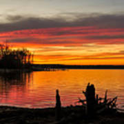 November Sunset Manasquan Reservoir Nj Art Print