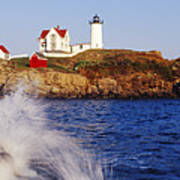 Nubble Lighthouse In Daylight Art Print by Jeremy Woodhouse