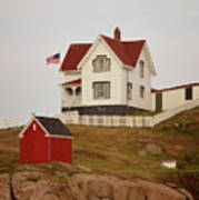 Nubble Lighthouse Shed And House Art Print
