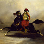 Nubian Horseman At The Gallop Print by Alfred Dedreux or de Dreux