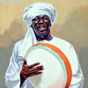 Nubian Musician Player Playing Duff Art Print