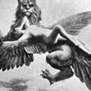 Nude And Griffin, 1890s Art Print