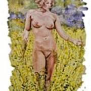 Nude In Field Art Print
