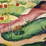 Nude Lying In The Flowers 1910 Art Print