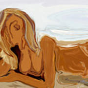 Nude On The Beach Art Print