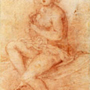 Nude Seated Woman Playing A Lute Art Print