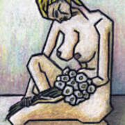 Nude With White Flowers Art Print