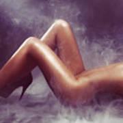 Nude Woman Body In Clouds Of Smoke Art Print