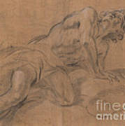 Nude Youth Leaning On A Cloud And Gazing Upward Art Print