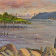 Ny Skyline And Gwb From Hastings On Hudson Art Print