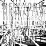 Nyc Brooklyn Bridge Typography No2 Art Print by Melanie Viola