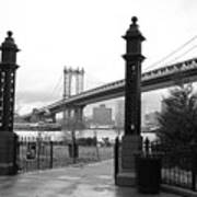 Nyc Manhattan Bridge Bw Art Print