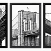 Nyc Three Bridges-east River Art Print