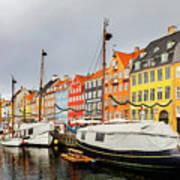 Nyhavn Harbour In Copenhagen Art Print