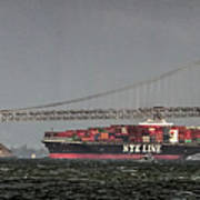 Nyl Line Container Ship By Bay Bridge In San Francisco, California Art Print