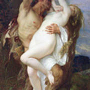 Nymph Abducted By A Faun Art Print by Alexandre Cabanel