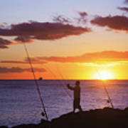 Oahu Fisherman Art Print