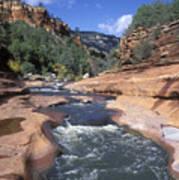 Oak Creek Flowing Through The Red Rocks Art Print by Rich Reid