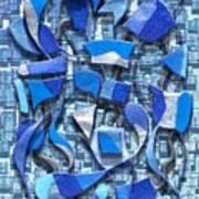 Oars And Rudders - Blue Art Print
