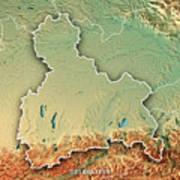 Oberbayern Regierungsbezirk Bayern 3d Render Topographic Map Bor Art Print