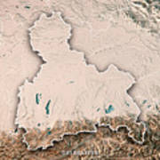 Oberbayern Regierungsbezirk Bayern 3d Render Topographic Map Neu Art Print