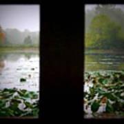 Observation Deck On A Misty Lake  Art Print