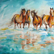 Ocean Breeze Wild Horses Art Print