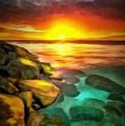 Ocean Lit In Ambiance Art Print