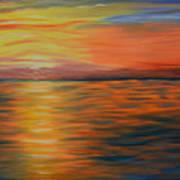 Ocean Sunrise- Oil Painting- Abstract Art Art Print