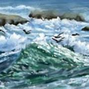 Ocean Waves And Pelicans Art Print