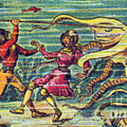 Octopus Attack, 1900s French Postcard Art Print