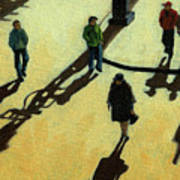 Off To Work Shadows - Painting Art Print