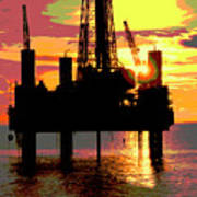 Offshore Drilling Rig Sunset Art Print