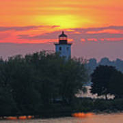 Ogdensburg Lighthouse At Sunset 6695 Art Print