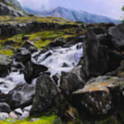 Ogwen Rock Waterfall Art Print